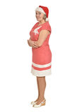 Senior woman in Santa hat Stock Images