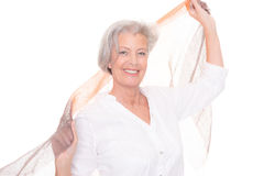 Senior woman with scarf Stock Images