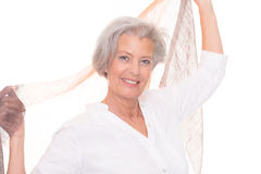 Senior woman with scarf Stock Photos