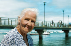 Senior woman seaside Royalty Free Stock Images