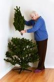 Senior woman setting up christmas tree Stock Image