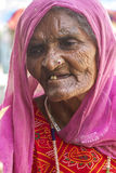 Senior Woman. Sheoganj, India - April 29, 2014: Rural village women love to posing, this woman known for Jogi community, Jogi is a bigest community in Rajasthan Royalty Free Stock Images