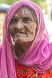 Senior Woman. Sheoganj, India - April 29, 2014: Rural village women love to posing, this woman known for Jogi community, Jogi is a bigest community in Rajasthan Stock Photography