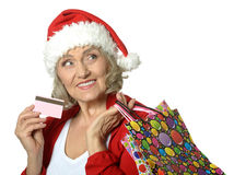 Senior woman with shopping bags Stock Image