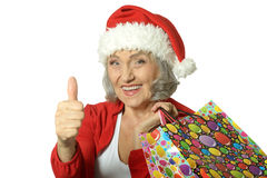 Senior woman with shopping bags Royalty Free Stock Images
