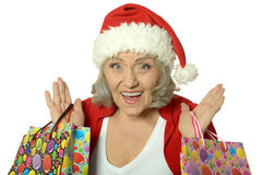 Senior woman with shopping bags Royalty Free Stock Photo