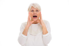 Senior woman shouting Stock Photos