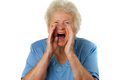 Senior woman is shouting loud Stock Images