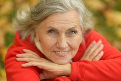 Senior woman showing Royalty Free Stock Photography