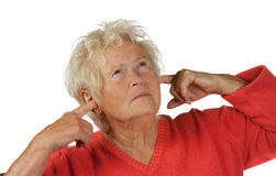 Senior woman shut her ears Royalty Free Stock Photos