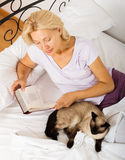 Senior woman with Siamese and book Royalty Free Stock Images