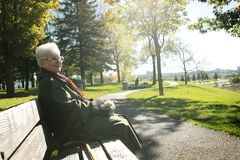 Senior woman sit on a bench Royalty Free Stock Images