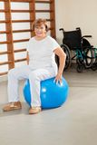 Senior Woman Sitting On Fitness Ball Stock Images