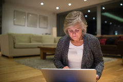 Senior woman sitting on the floor working on laptop Royalty Free Stock Photo