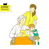 Senior woman sitting on a wheelchair, with caregiver and child. Illustration of senior woman sitting on a wheelchair, with caregiver and child in a cartoon Stock Photo