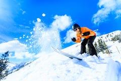 Senior Woman Skiing royalty free stock photo