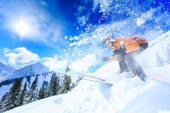 Senior Woman Skiing stock photography