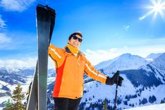 Senior Woman Skiing Stock Images