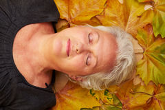 Senior woman sleeping on maple Royalty Free Stock Images