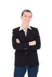 Senior woman smiles over white background Royalty Free Stock Images