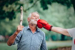 Senior woman active boxing Royalty Free Stock Images