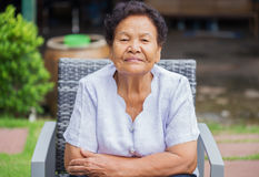 Senior woman smilling and happy Stock Image