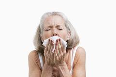 Senior woman sneezing into a tissue against white background Stock Photo
