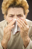 Senior woman sneezing Stock Image