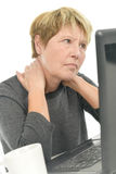 Senior woman with sore neck. Senior woman with a sore neck Royalty Free Stock Image