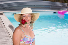 Senior woman in spa hotel relaxing in the pool Royalty Free Stock Photography
