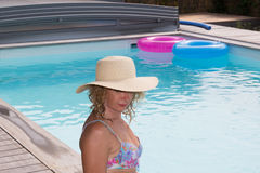 Senior woman in spa hotel relaxing in the pool Royalty Free Stock Image