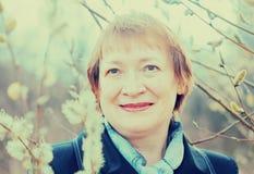 Senior woman  in spring Royalty Free Stock Photo