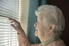 Senior woman spying through window. Blinds royalty free stock photography