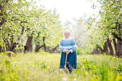 Senior woman standing in orchard Royalty Free Stock Images