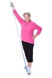 Senior Woman Stretching Exercising Equipment Stock Image