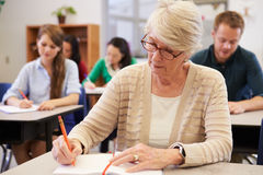 Senior woman studying at an adult education class royalty free stock images