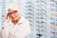 Senior woman in stylish eyeglasses Royalty Free Stock Photos