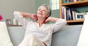 Senior woman suffering from neck pain stock video