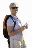 Senior woman in sunglasses with rucksack on back, cut out Royalty Free Stock Photo