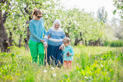 Senior woman supported by granddaughter and great grandson walking in orchard Royalty Free Stock Photo