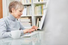 Senior woman surfing the internet Stock Photography