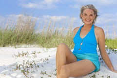Senior Woman In Swimming Costume At Beach Royalty Free Stock Image