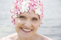 Senior woman in a swimming hat Royalty Free Stock Photography