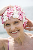 Senior woman in a swimming hat, Royalty Free Stock Images