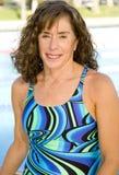 Senior Woman at Swimming Pool stock image