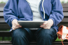 Senior woman with tablet pc Stock Photography