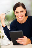 Senior woman tablet Royalty Free Stock Photography