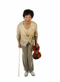 Senior Woman taking a Bow after Playing Violin Royalty Free Stock Image