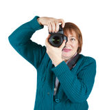 Senior woman taking photo Royalty Free Stock Photo