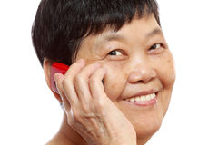 Senior Woman Talking On Mobile Phone Royalty Free Stock Photo